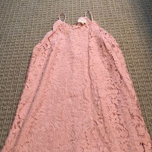 Pink lace dress with spaghetti straps